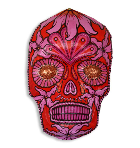 Orange mask with pink flowers